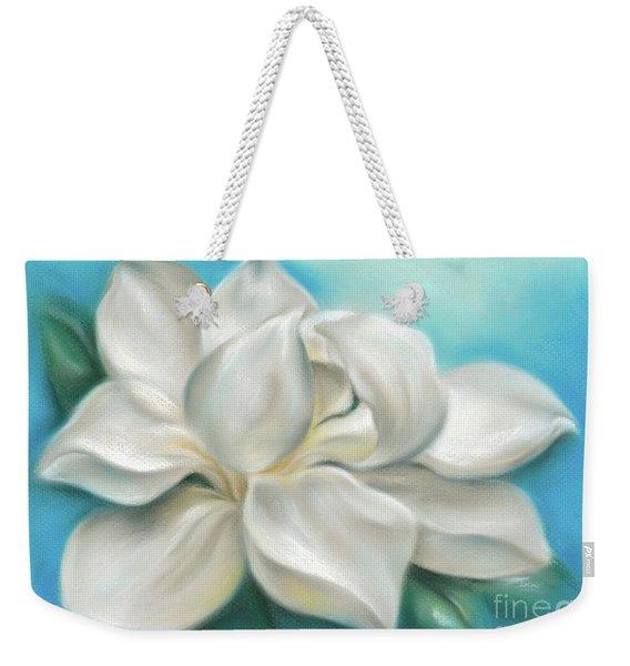 Magnolia Grandiflora Flower On Blue Weekender Tote Bag