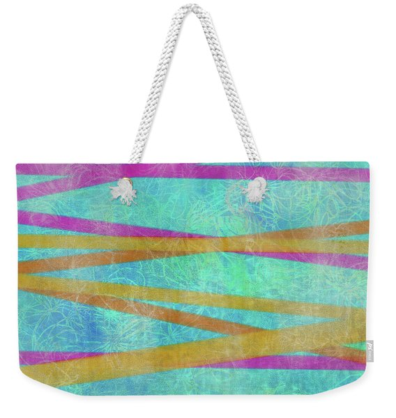 Malaysian Tropical Batik Strip Print Weekender Tote Bag