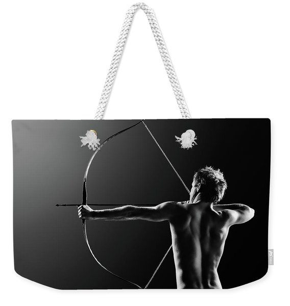 Male Archer Drawing Long Bow Weekender Tote Bag