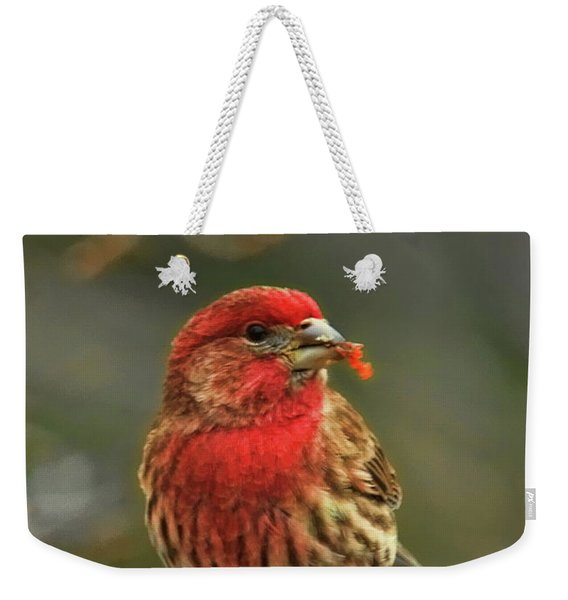 Male House Finch With Crabapple Weekender Tote Bag