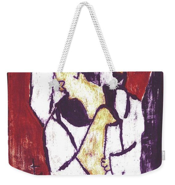 Man Sat On A Village Wall 3 Weekender Tote Bag