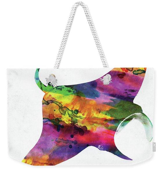 Manta Ray Colorful Watercolor Weekender Tote Bag