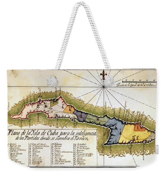 Map Of The Island Of Cuba - 19th Century. Weekender Tote Bag