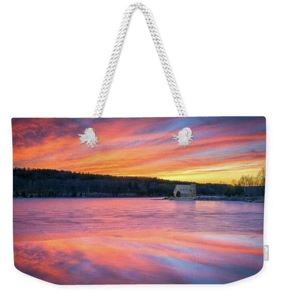 March Sunset At The Old Stone Church Weekender Tote Bag