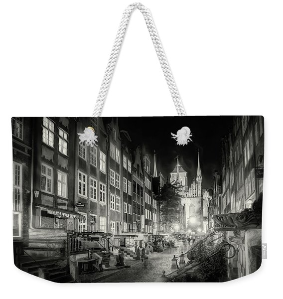 Mariacka Street By Night Gdansk Poland Black And White Weekender Tote Bag