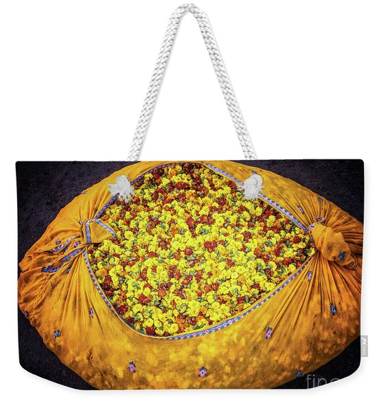 Weekender Tote Bag featuring the photograph Marigolds by Robin Zygelman