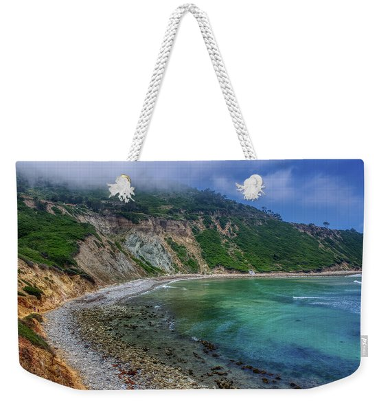 Weekender Tote Bag featuring the photograph Marine Layer Over Bluff Cove by Andy Konieczny