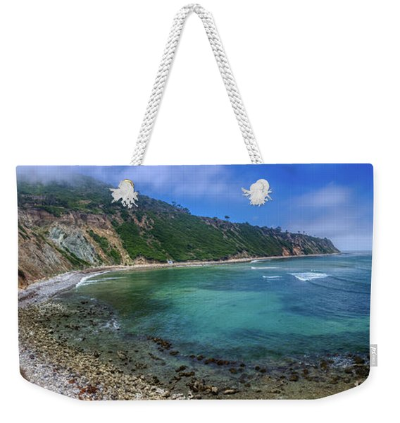 Weekender Tote Bag featuring the photograph Marine Layer Over Bluff Cove Panorama by Andy Konieczny