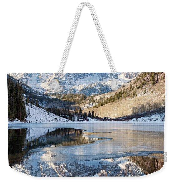 Maroon Bells Reflection Winter Weekender Tote Bag