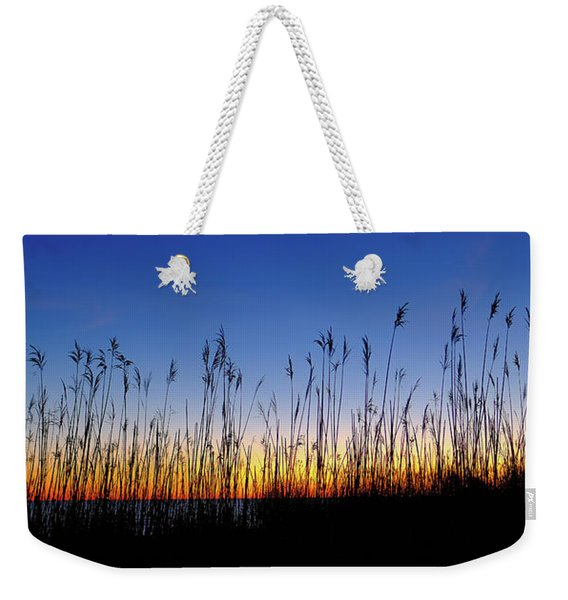 Weekender Tote Bag featuring the photograph Marsh Grass Silhouette  by Jeff Sinon