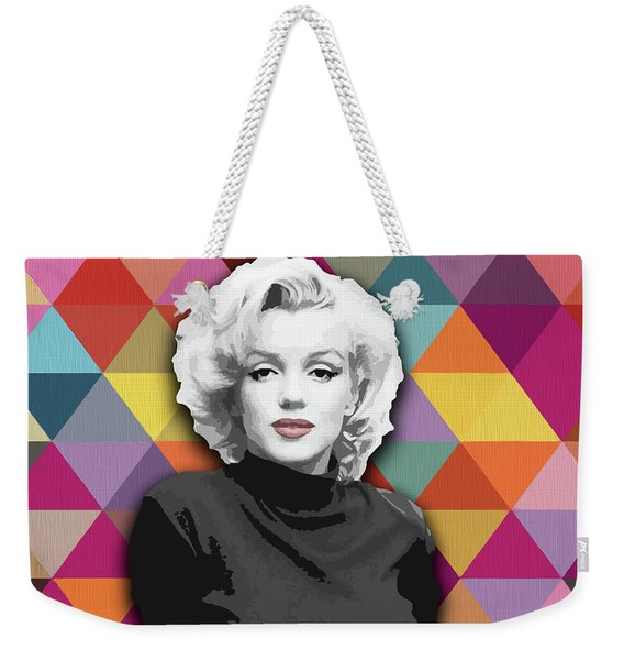 Weekender Tote Bag featuring the painting Marylin Monroe Diamonds by Carla Bank
