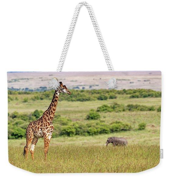 Masai Giraffe And Elephant In Kenya Africa Weekender Tote Bag