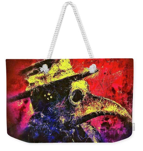 Weekender Tote Bag featuring the mixed media Plague Mask  by Al Matra