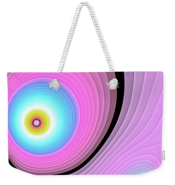 Weekender Tote Bag featuring the digital art Massive Hurricane Pink by Don Northup
