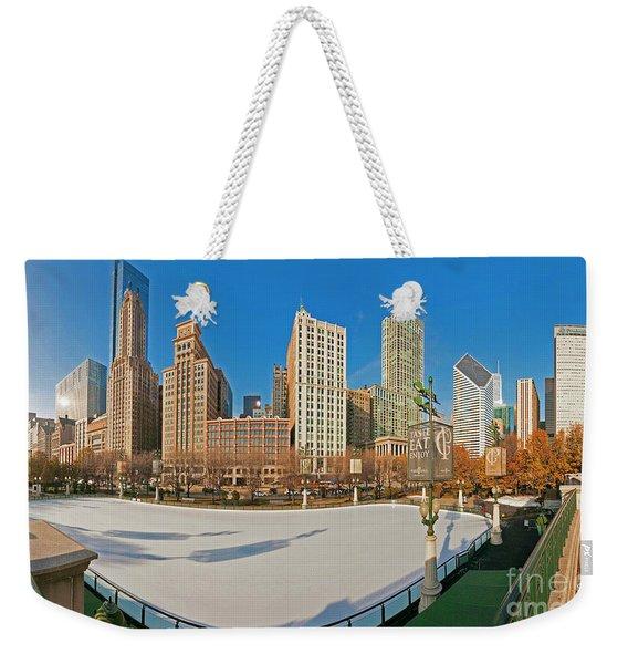 Mccormick Tribune Plaza Ice Rink And Skyline   Weekender Tote Bag