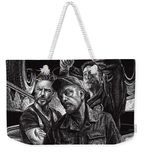 Weekender Tote Bag featuring the drawing Mechanics by Clint Hansen