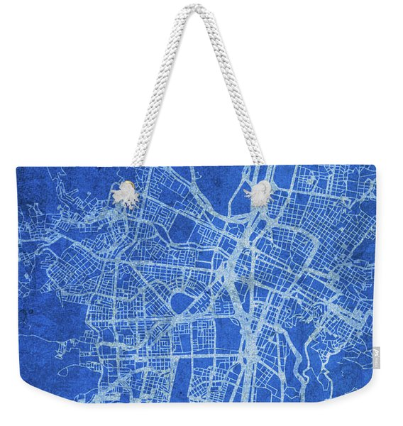 Medellin Colombia City Street Map Blueprints Weekender Tote Bag