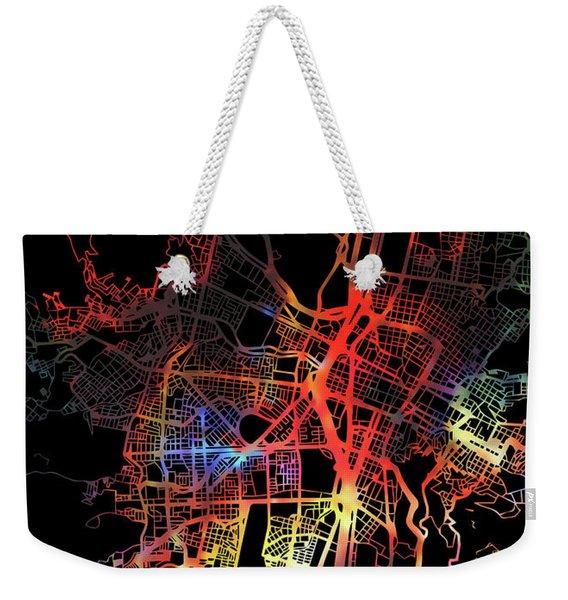 Medellin Colombia Watercolor City Street Map Dark Mode Weekender Tote Bag