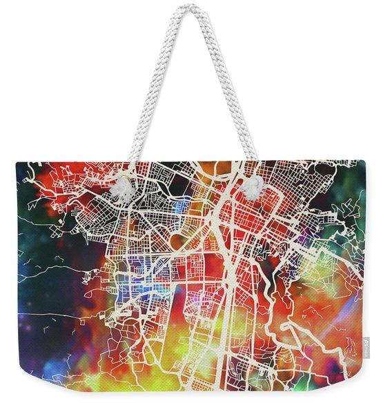 Medellin Colombia Watercolor City Street Map Weekender Tote Bag