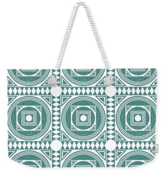 Mediterranean Pattern 4 - Tile Pattern Designs - Geometric - Teal - Ceramic Tile - Surface Pattern Weekender Tote Bag