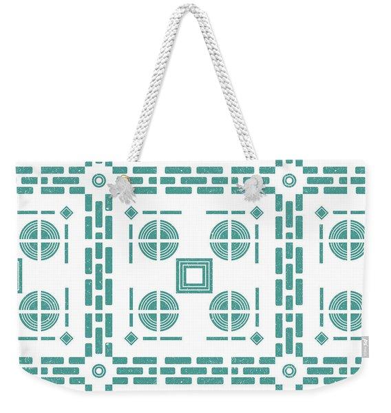 Mediterranean Pattern 5 - Tile Pattern Designs - Geometric - Blue - Ceramic Tile - Surface Pattern Weekender Tote Bag