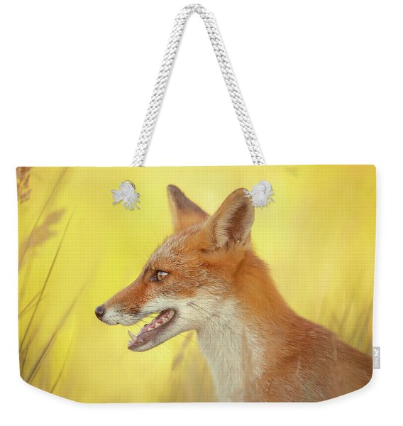Mellow Yellow - Red Fox Portrait Weekender Tote Bag