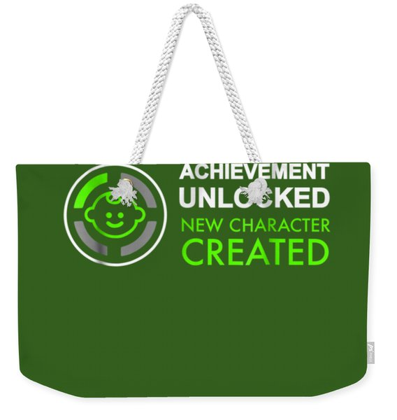 Mens 1st Fathers Day Gifts, Achievement Unlocked Fatherhood Shirt Weekender Tote Bag