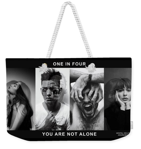 Weekender Tote Bag featuring the digital art Mental Health Awareness - You Are Not Alone by ISAW Company