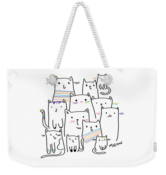 Meow Kitties - Baby Room Nursery Art Poster Print Weekender Tote Bag