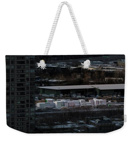 Weekender Tote Bag featuring the photograph Merchandise Beside A Railroad Track  by Juan Contreras