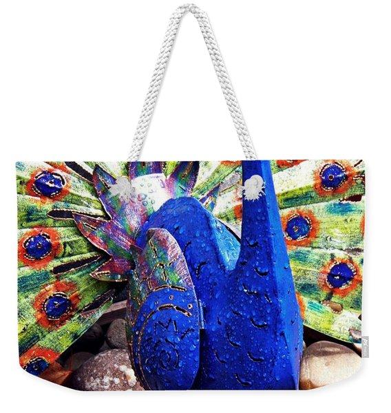 Metal Peacock In The Rain   Weekender Tote Bag