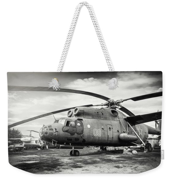 Mi-6 Helicopter Riga Latvia Black And White Weekender Tote Bag