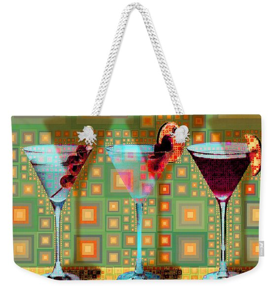 Mid Century Modern Abstract Mcm Three Martinis Shaken Not Stirred 20190127 V1 Square Weekender Tote Bag