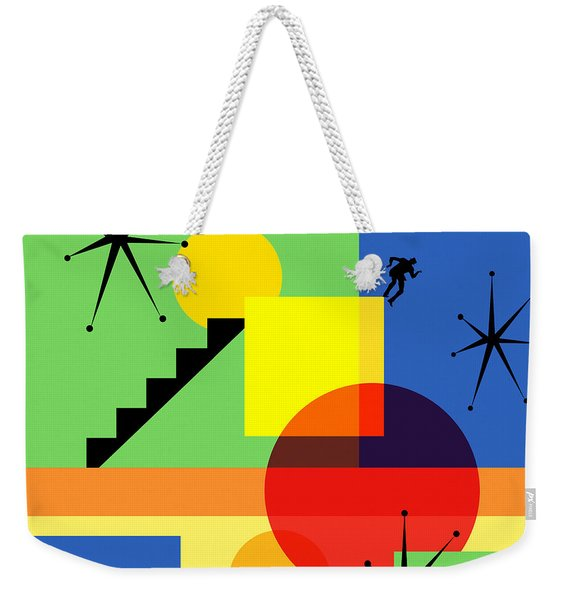 Mid Century Modern Abstract Over The Edge 20190106 Square Weekender Tote Bag