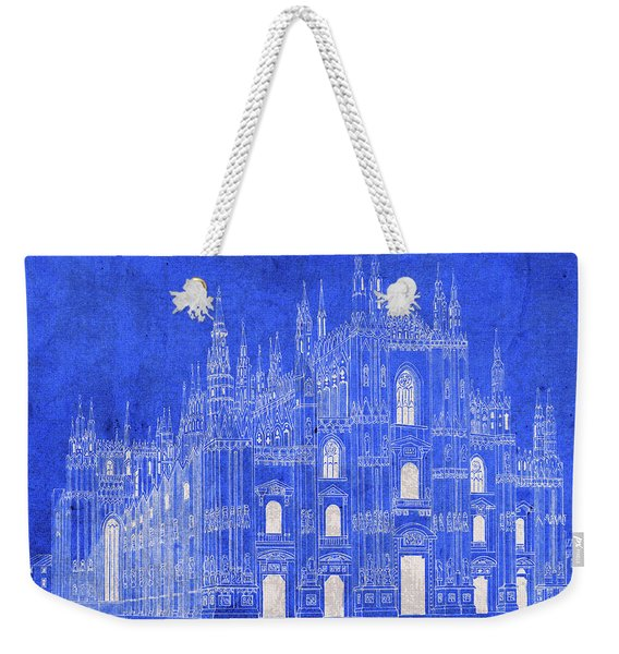 Milan Italy Duomo Cathedral Vintage Blueprints Plans Weekender Tote Bag