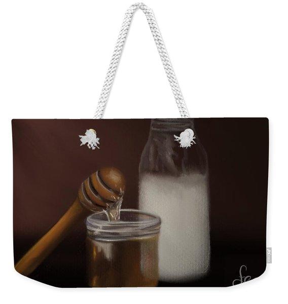 Weekender Tote Bag featuring the painting Milk And Honey  by Fe Jones