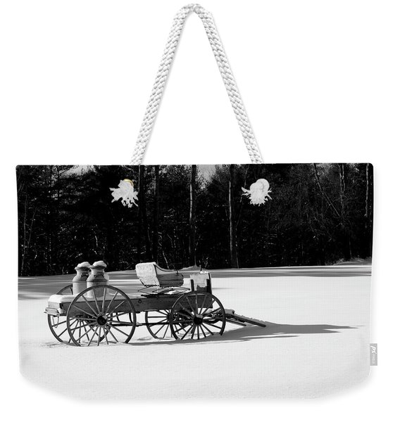 Weekender Tote Bag featuring the photograph Milk Wagon Monochrome by Wayne King