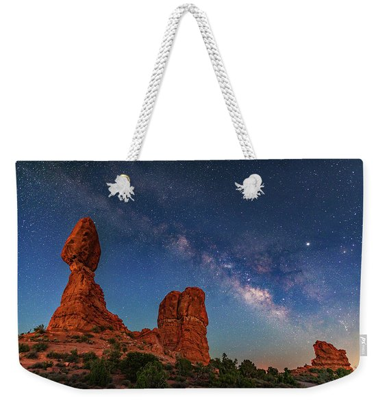 Milky Way Over Balanced Rock At Twilight Weekender Tote Bag
