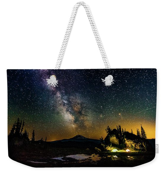 Milky Way Over Snowgrass Flats, Goat Rocks Wilderness, Washington Weekender Tote Bag