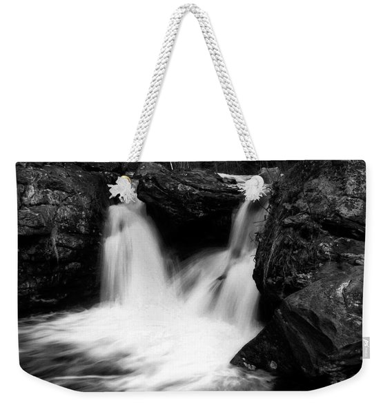 Weekender Tote Bag featuring the photograph Mill Falls Monochrome by Wayne King