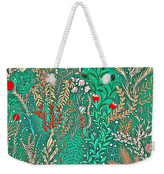 Millefleurs Home Decor Design In Brilliant Green And Light Oranges With Leaves And Flowers Weekender Tote Bag
