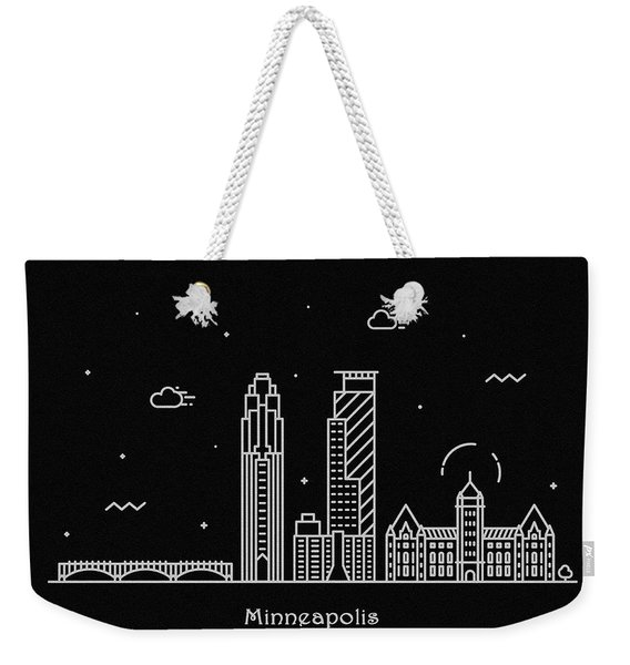 Minneapolis Skyline Travel Poster Weekender Tote Bag