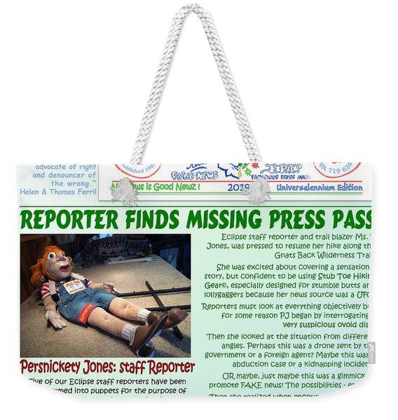 Missing Press Pass Weekender Tote Bag