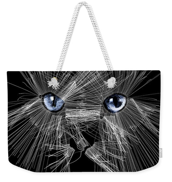 Weekender Tote Bag featuring the digital art Mister Whiskers by ISAW Company