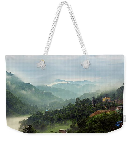 Weekender Tote Bag featuring the photograph Misty Mountains by Whitney Goodey