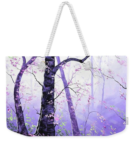 Misty Pink Trees Forest Weekender Tote Bag