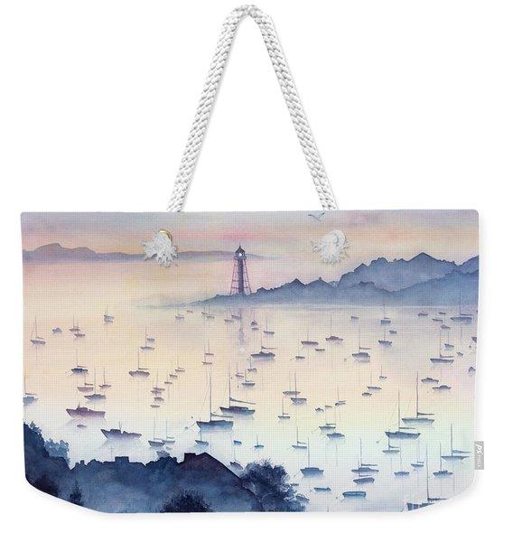 Misty Sunrise Marblehead Harbor Weekender Tote Bag