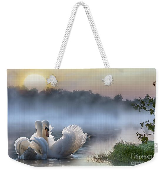 Misty Swan Lake Weekender Tote Bag