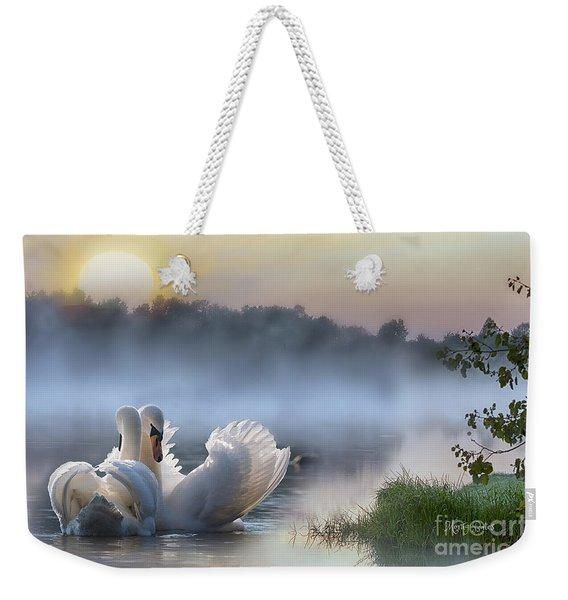 Misty Swan Lake Weekender Tote Bag