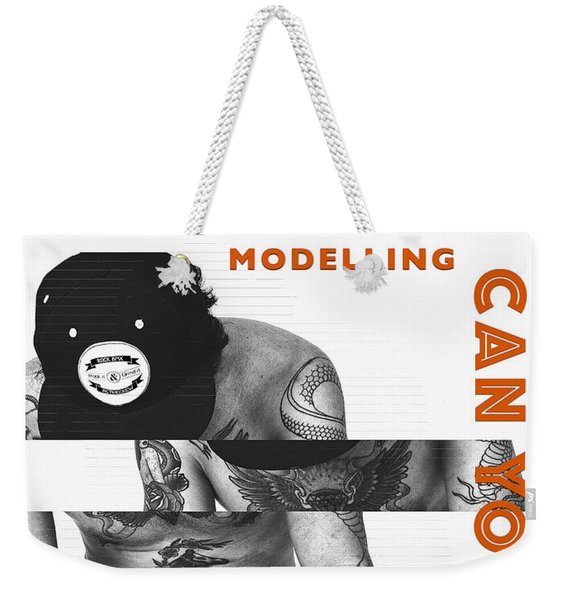 Weekender Tote Bag featuring the digital art Modelling Can You Cut It? by ISAW Company